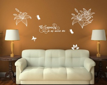 Lily Flower with Quotes Vinyl Decals Modern Wall Art