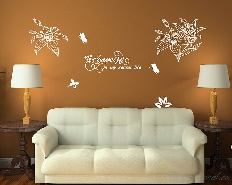 Lily Flower with Quotes Decal