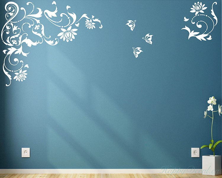 Flowers and Butterflies Vinyl Decals Modern Wall Art