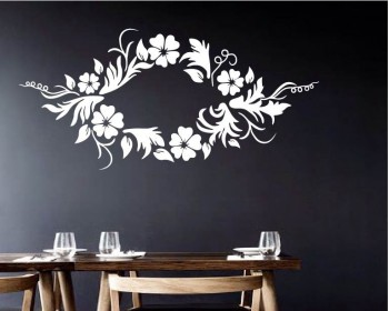 Beautiful Floral Garland Vinyl Decals Modern Wall Art