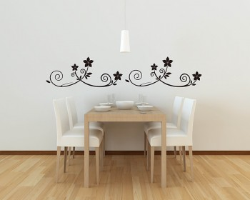 A Set of 4 Flower Borders Vinyl Decals Modern Wall Art