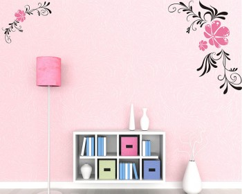 Bidiagonal Flowers Vinyl Wall Art Decal Modern Stickers