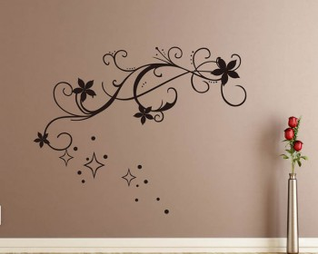 Star Floral Vine Vinyl Art Decals Modern Wall Art