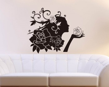 Rose Fairy Vinyl Art Decals Modern Wall Art