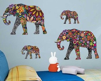 Floral Elephant Wall Art