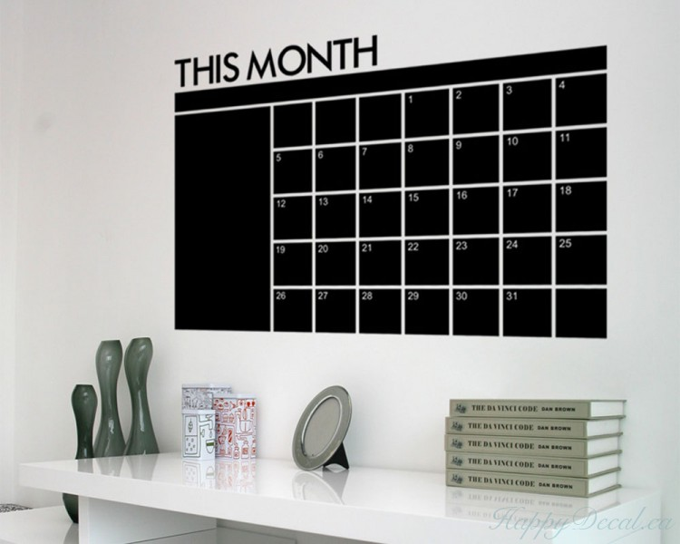 Monthly Calendar Chalkboard Wall stickers