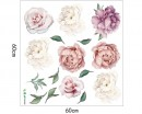 A set of 8 Peony Blossom Removable Stickers