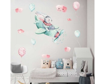 Watercolor Bunny Pilot Removable Stickers for Nursery