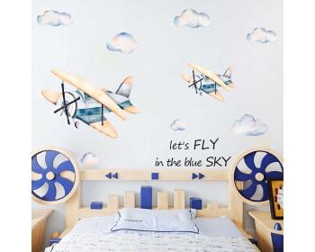 Retro Aeroplane Nursery Stickers