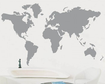Map of the World Vinyl Decals Modern Wall Art Sticker