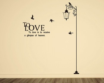 Street Lamp with Quotes Vinyl Decals Modern Wall Art Sticker