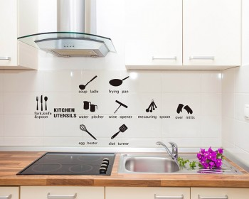A Set of Kitchen Ware Vinyl Decals Modern Wall Art Sticker