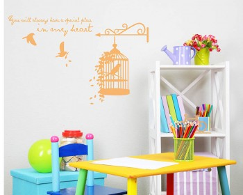Birdcage with Quotes Vinyl Decals Modern Wall Art Sticker