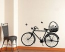 Bicycle with Flower Basket Vinyl Decals Modern Wall Sticker