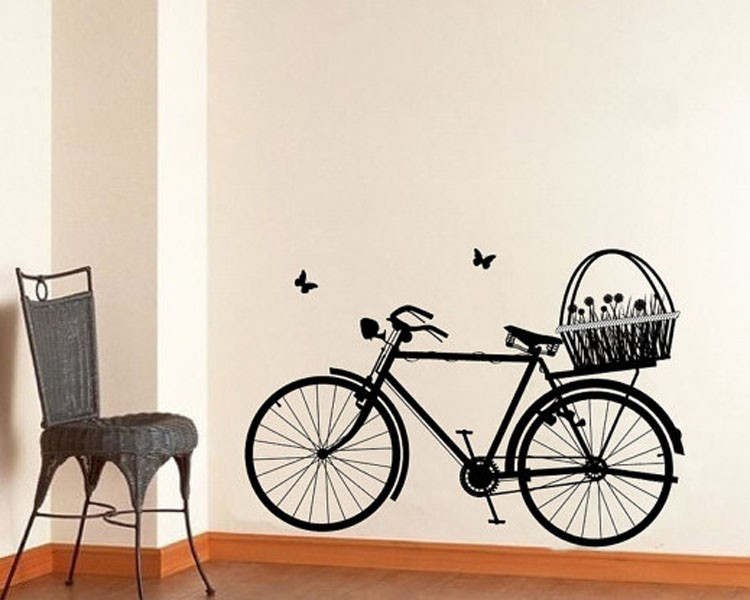 Bicycle with Flower Basket Decal
