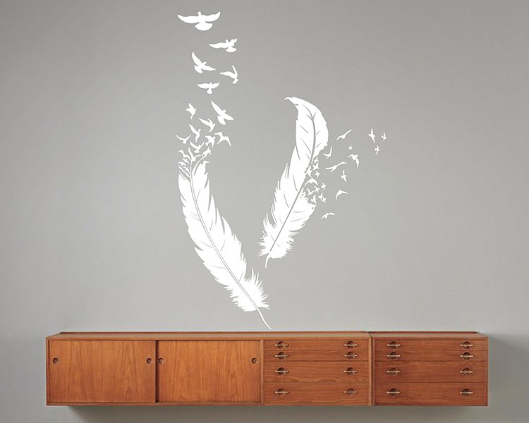 A Pair Of Feathers Vinyl Decals Modern Wall Art Sticker