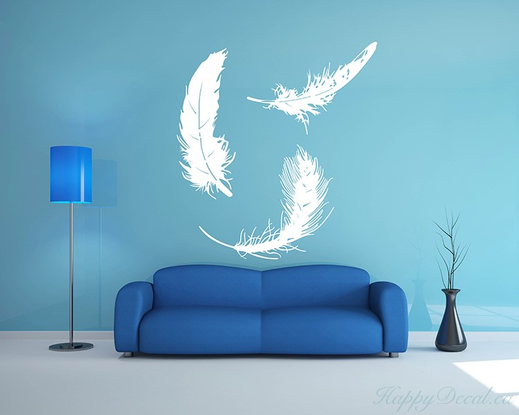 A Set of 3 Feathers Vinyl Decals Modern Wall Art Sticker