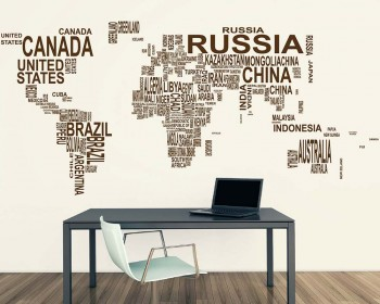 World map country names vinyl decals modern wall stickers gumiabroncs Images