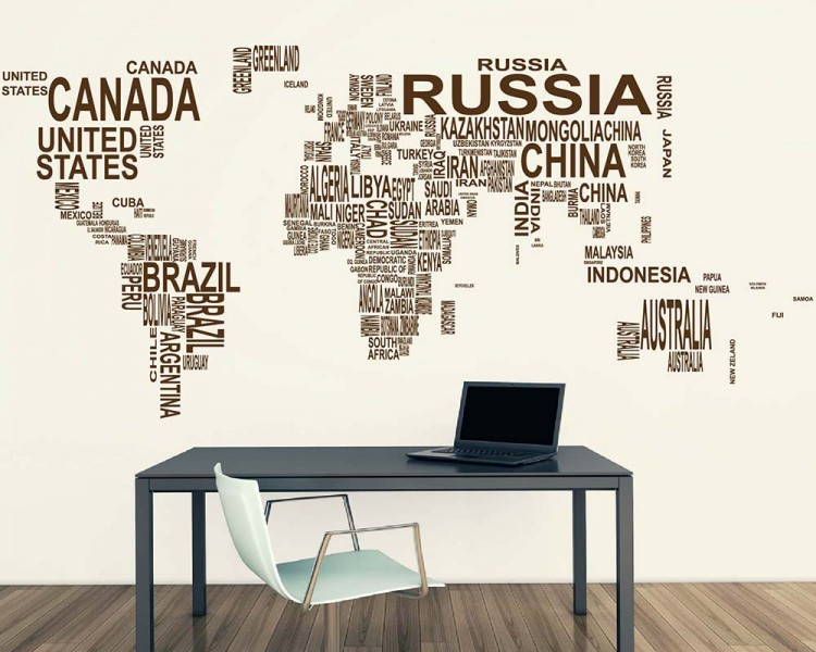 World map country names vinyl decals modern wall stickers world map country names decal gumiabroncs Choice Image