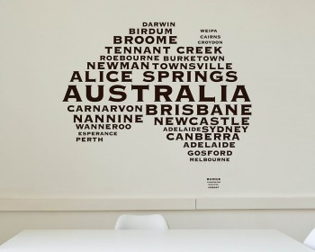 Australian Map City Names Vinyl Decals Modern Wall Stickers