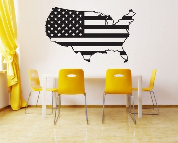American Map City Names Vinyl Decals Modern Wall Stickers
