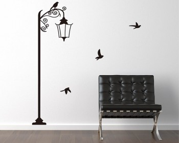 Street Lamp with Birds Vinyl Decals Modern Wall Art Sticker