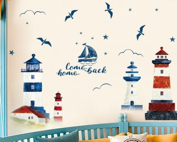 Mediterranean Lighthouses with Boat and Birds Modern Decal