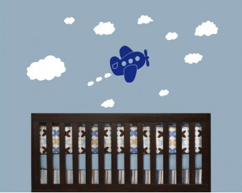 Lovely Airplane Clouds Vinyl Wall Decals Nursery Sticker