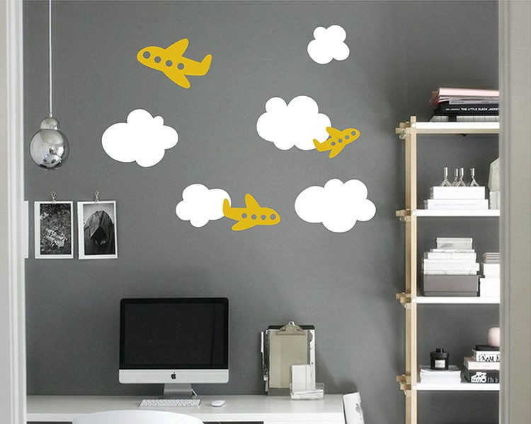 Airplanes Clouds Vinyl Wall Decals Nursery Sticker