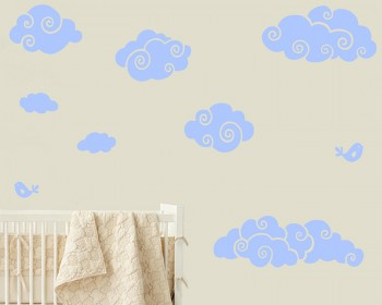 Clouds and Birds Nursery Vinyl Decal Children Sticker