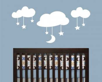 Moon and Stars on the Clouds Nursery Vinyl Decal Children Sticker