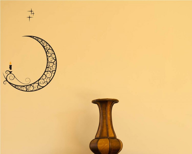 Moon with Candle Vinyl Wall Decals Nursery Sticker