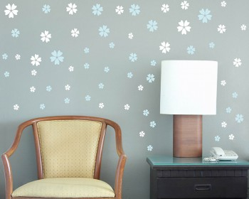 5 Petaled Flowers Pattern Decal Vinyl Wall Art Stickers