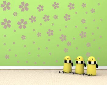 Sakura Flowers Pattern Wall Decal Nursery Modern Vinyl Sticker