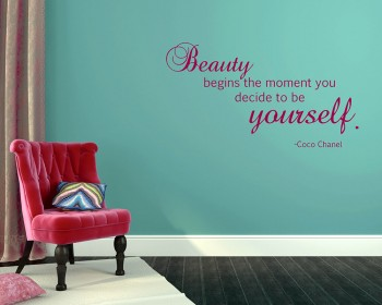 Beauty Begins Quotes Wall Decal Motivational Vinyl Art Stickers