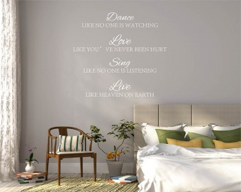 Dance, Love, Sing, Live Quotes Wall Decal Motivational Vinyl Art Stickers