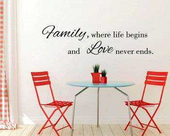Family Where Life Begins Quotes Wall Decal Family Lettering Vinyl Art Stickers