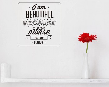 I am Beautiful Quotes Wall Decal Motivational Vinyl Art Stickers