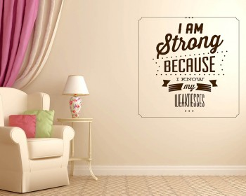 I am Strong Quotes Wall Decal Motivational Vinyl Art Stickers