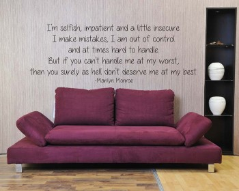I'm Selfish Quotes Wall Decal Motivational Vinyl Art Stickers