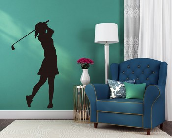 Golf Girl Vinyl Decals Silhouette Modern Wall Art Sticker