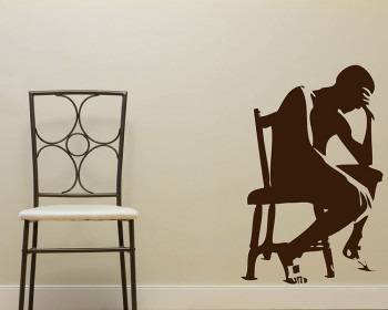 Thinker Vinyl Decals Silhouette Modern Wall Art Sticker