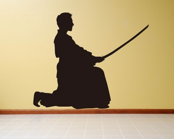 Japanese Samurai Vinyl Decals Silhouette Modern Wall Art Sticker