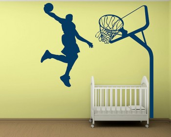 Slam Dunk - Basketball Wall Decal Dunking Boy Vinyl Decals Silhouette Modern Wall Art Sticker