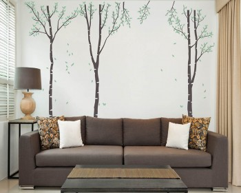 Large Birch Tree Wall Decal - Set of 3 Wall Decal Vinyl Tree Art Stickers