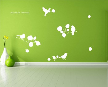 Branches, Birds and Leaves Wall Decal Vinyl Tree Art Stickers
