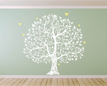 Large Tree with Birds and Butterflies Wall Decal Vinyl Tree Art Stickers