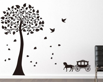 Tree with Carriage Wall Decal Vinyl Tree Art Stickers