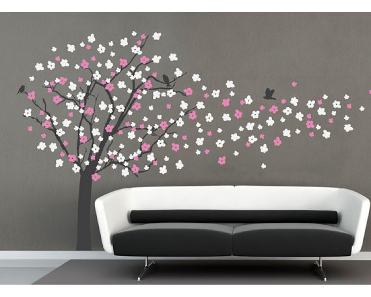 Cherry Blossom Tree Wall Decal With Birds - How to put up a tree wall decal