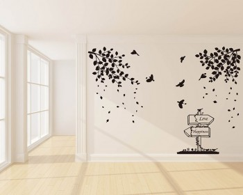 Branches with Leaves Birds Wall Decal Vinyl Tree Art Stickers